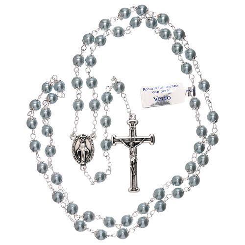 Rosario de vidrio perla celeste granos 3 mm 4
