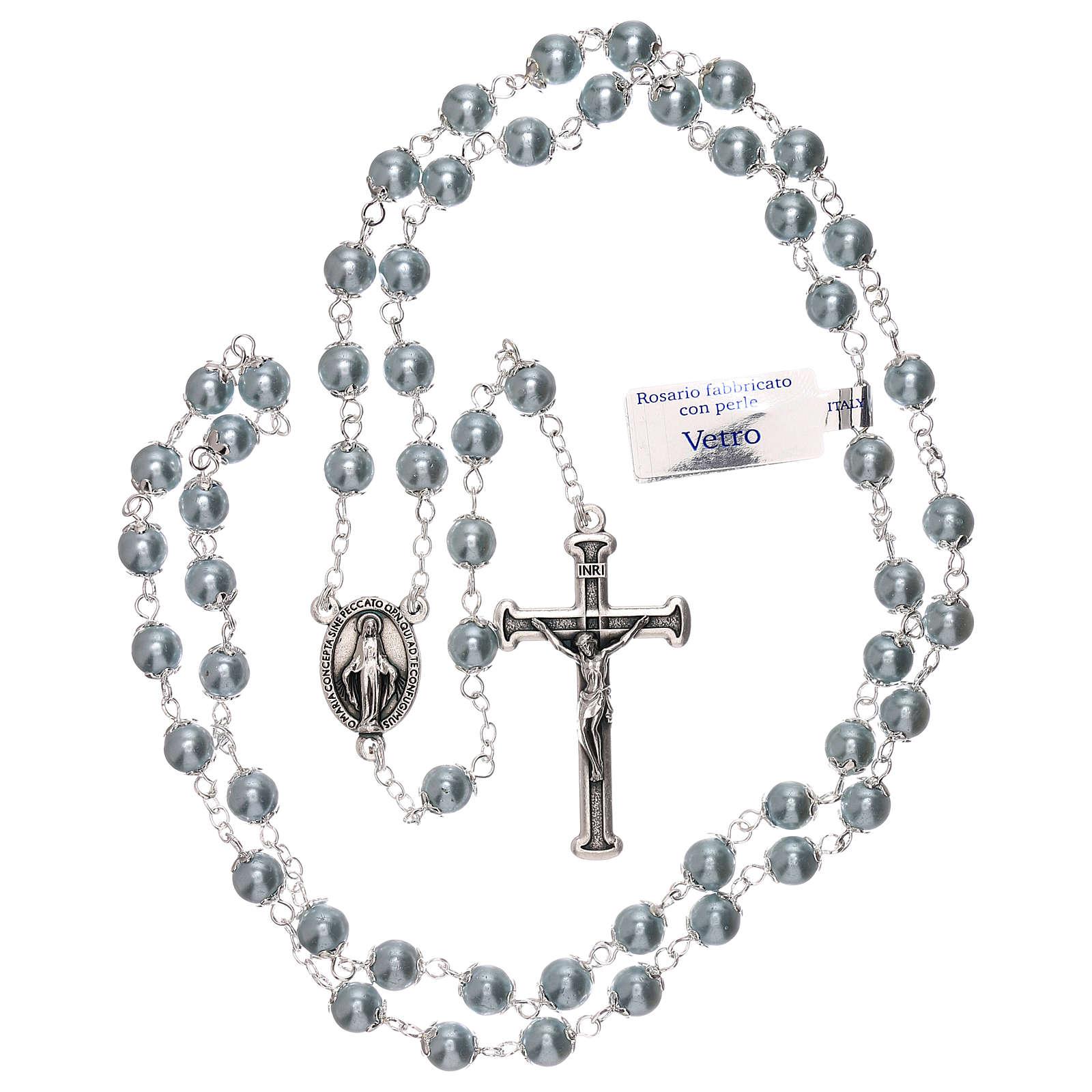 Rosario in vetro perla celeste grani 3 mm 4