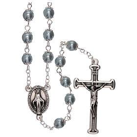 Rosario in vetro perla celeste grani 3 mm s1