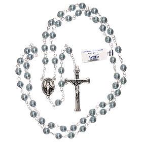 Rosario in vetro perla celeste grani 3 mm s4