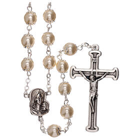Rosary with white fake peral beads 5 mm s1