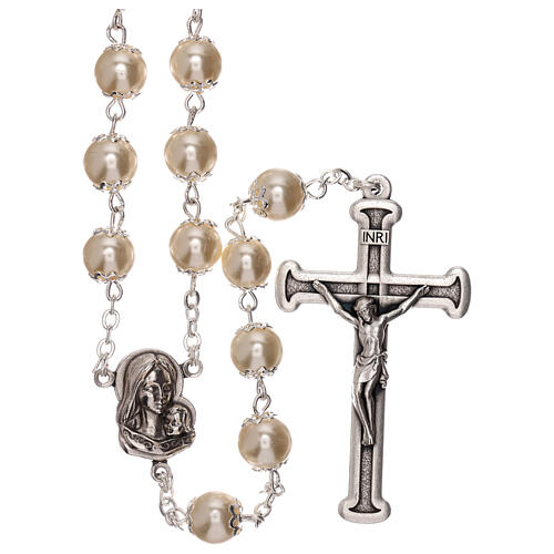 Rosary with white fake peral beads 5 mm 1