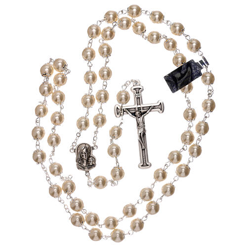 Rosary with white fake peral beads 5 mm 4