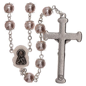 Rosary with pink fake pearl beads 5 mm s2