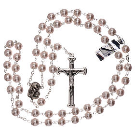 Rosary with pink fake pearl beads 5 mm s4