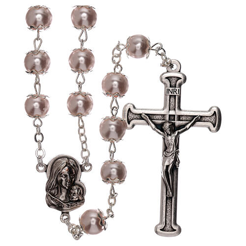 Rosary with pink fake pearl beads 5 mm 1