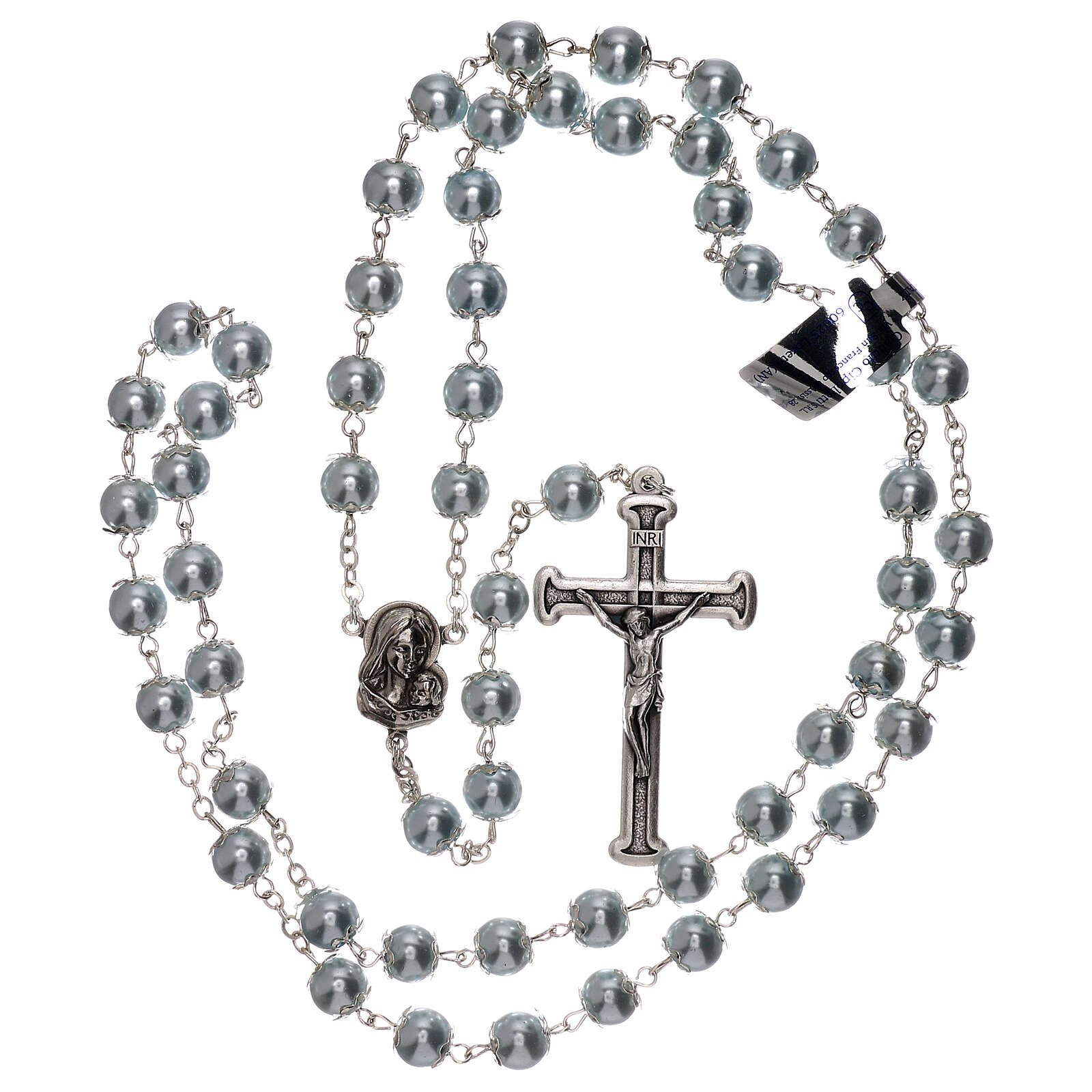 Rosary with sky blue fake pearl beads 5 mm 4