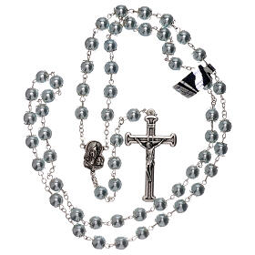 Rosary with sky blue fake pearl beads 5 mm s4