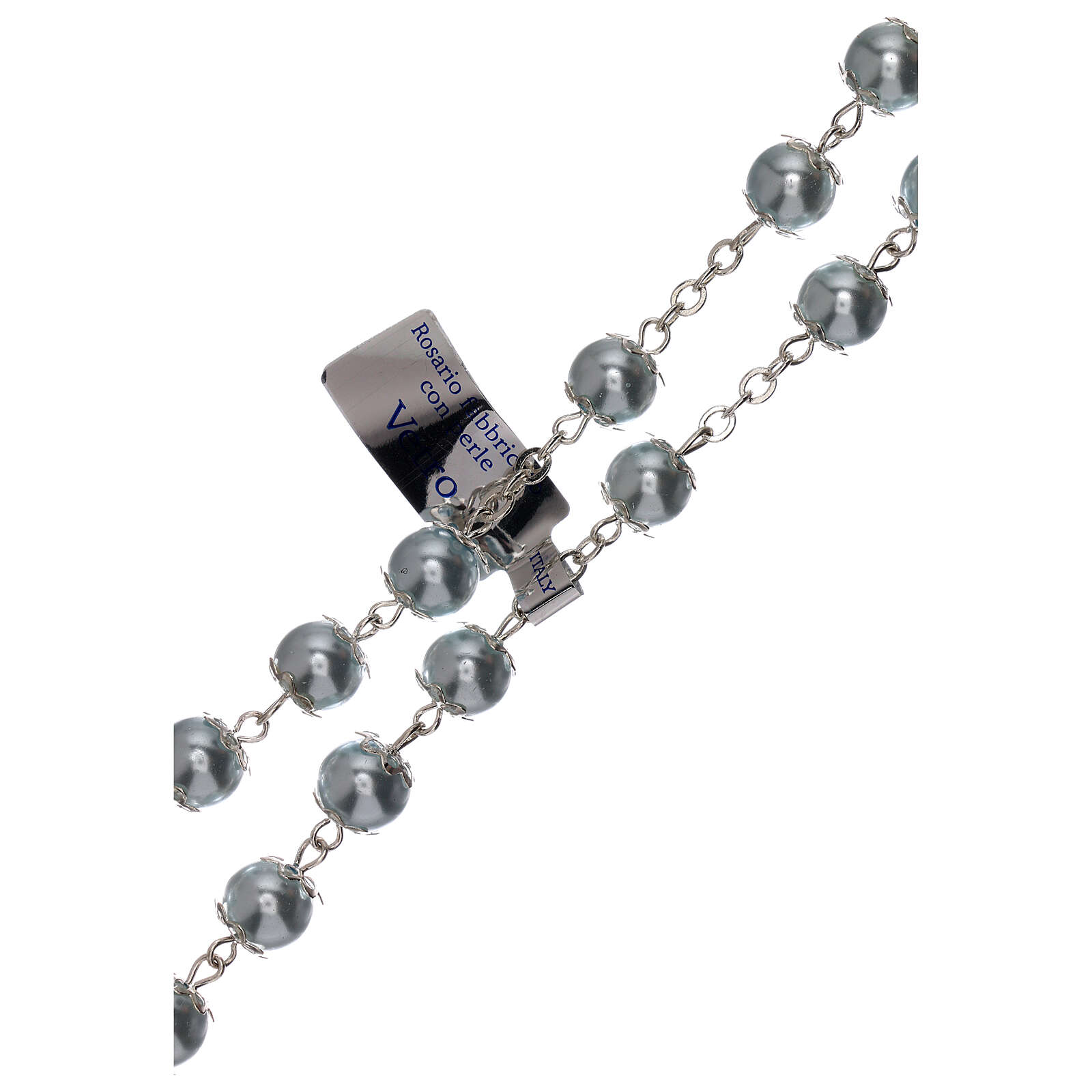 Rosario vidrio como perla celeste granos 5 mm 4