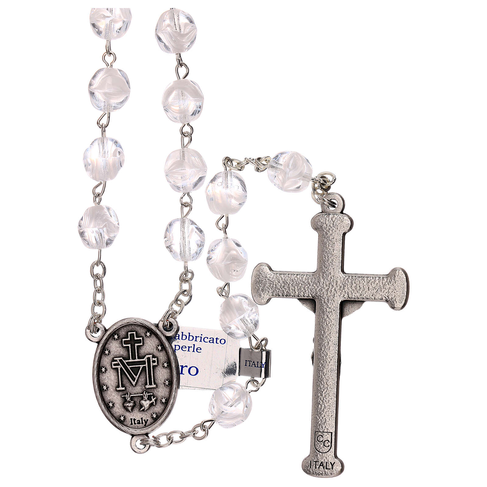 Rosary in glass with opaque beads 4 mm 4