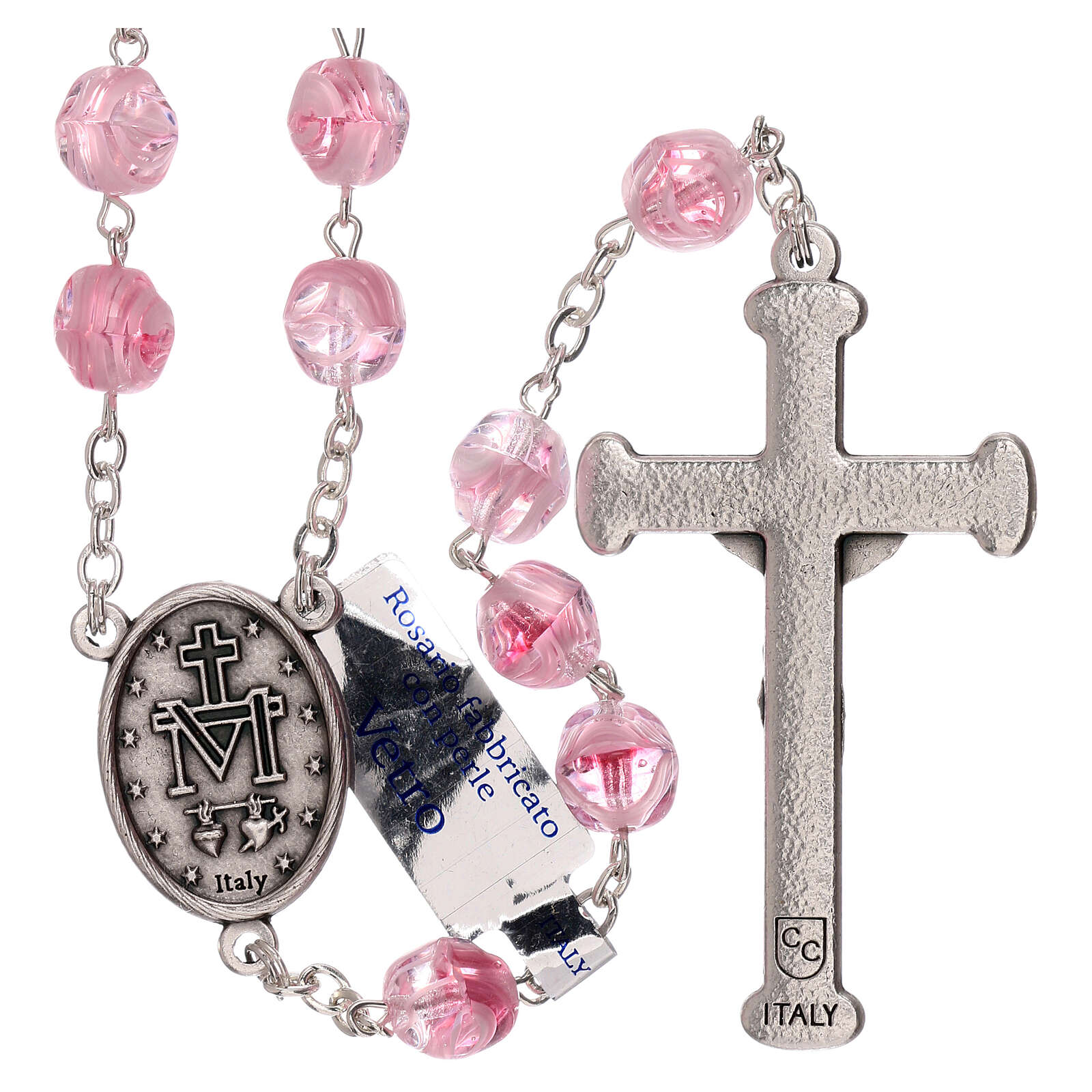 Rosary in pink glass with opaque beads 4 mm 4