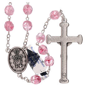 Rosary in pink glass with opaque beads 4 mm s2