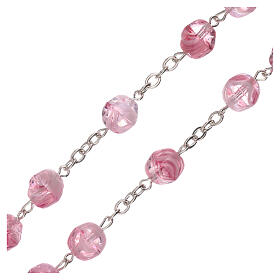 Rosary in pink glass with opaque beads 4 mm s3