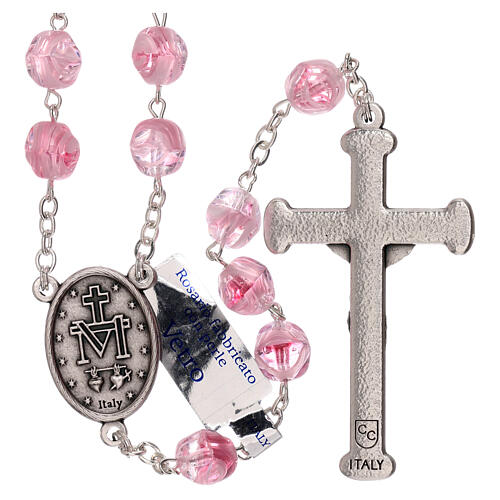 Rosary in pink glass with opaque beads 4 mm 2