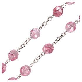 Rosario vetro opaco rosa grani 4 mm s3