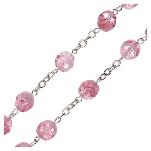 Rosario vetro opaco rosa grani 4 mm 3
