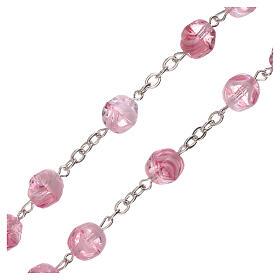 Terço vidro opaco cor-de-rosa contas 4 mm s3