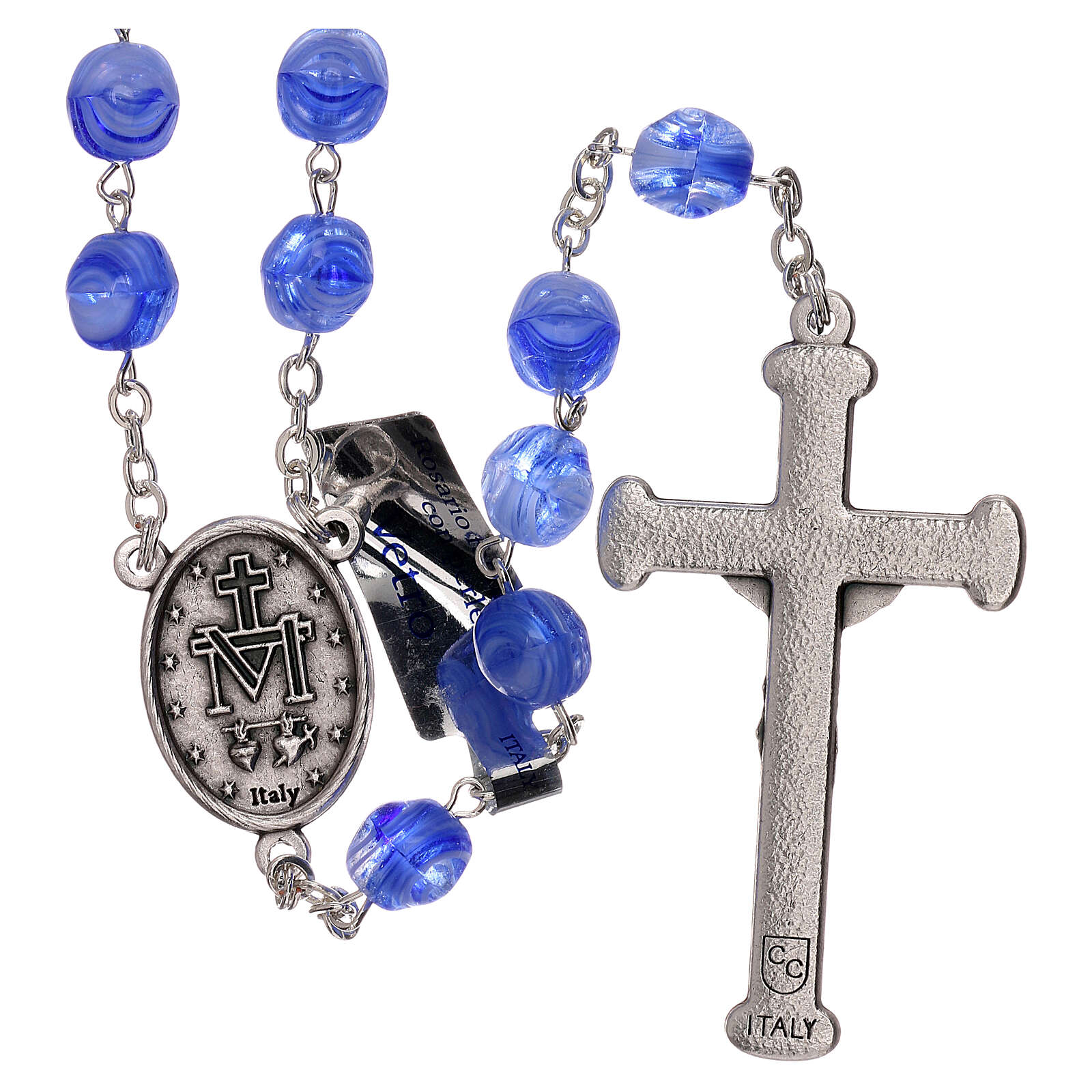 Rosary in blue glass with opaque beads 4 mm 4