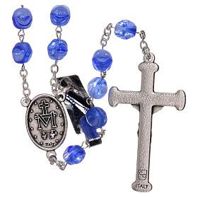 Rosary in blue glass with opaque beads 4 mm s2