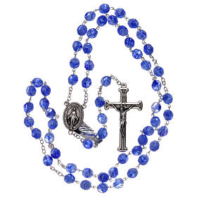 Rosary in blue glass with opaque beads 4 mm s4