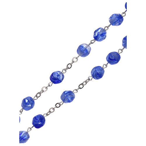 Rosary in blue glass with opaque beads 4 mm 3