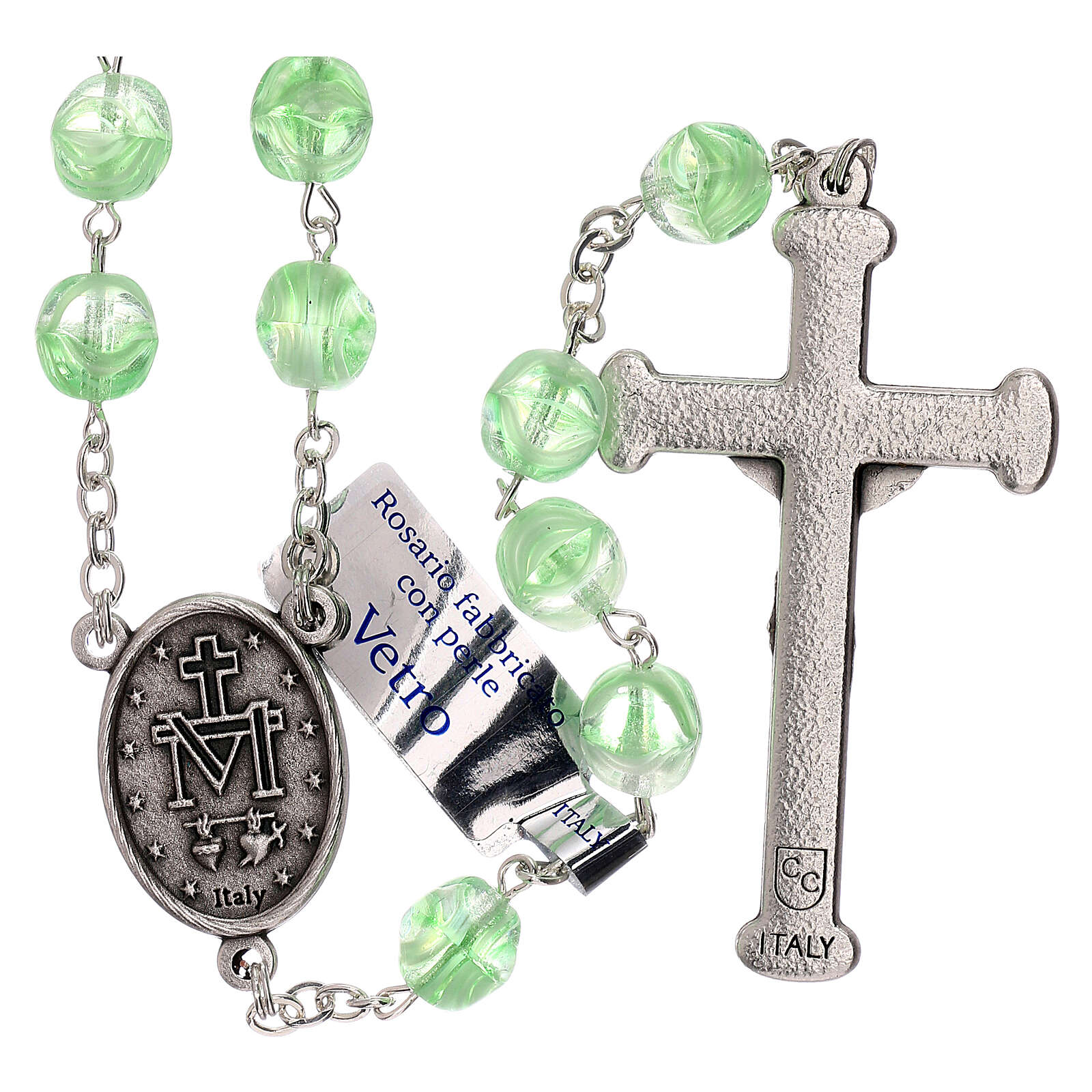Rosary in green glass with opaque beads 4 mm 4