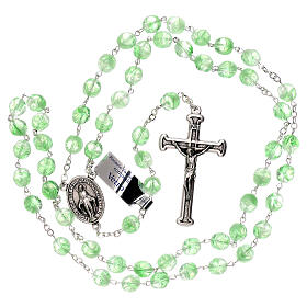 Rosary in green glass with opaque beads 4 mm s4