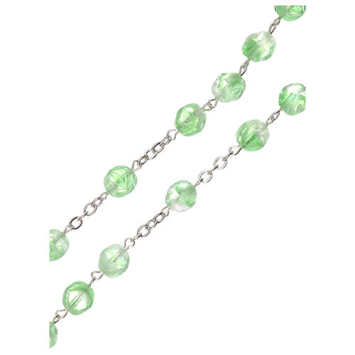 Rosario verde claro vidrio opaco granos 4 mm 3
