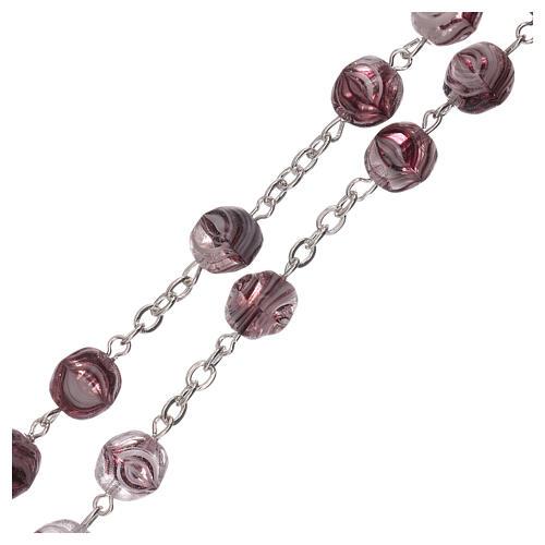 Rosario violeta opaco vidrio granos 4 mm 3