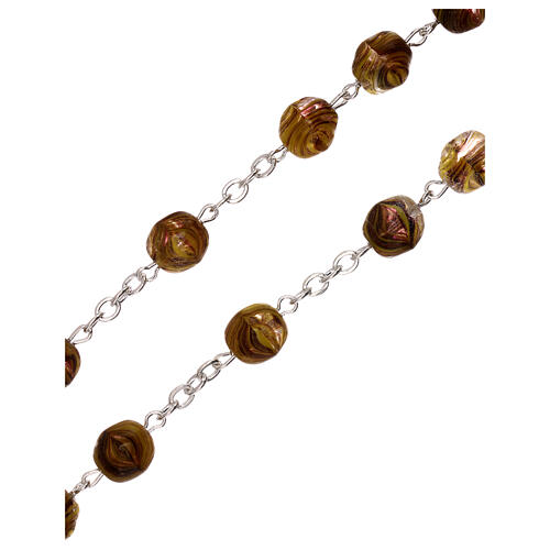 Rosary in olive green glass with opaque beads 4 mm 3