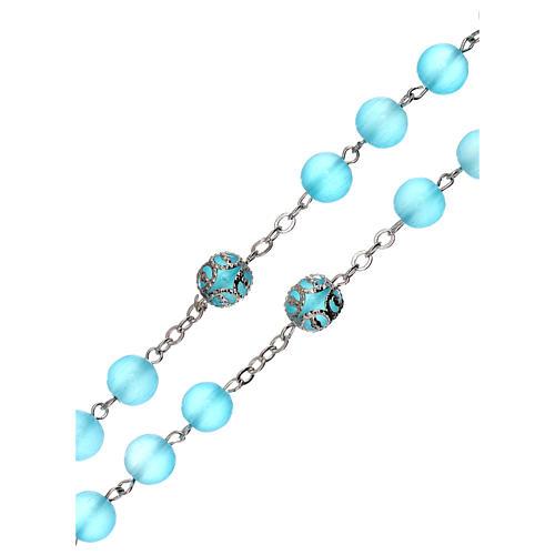 Rosario lúcido vidrio azul 5 mm 3
