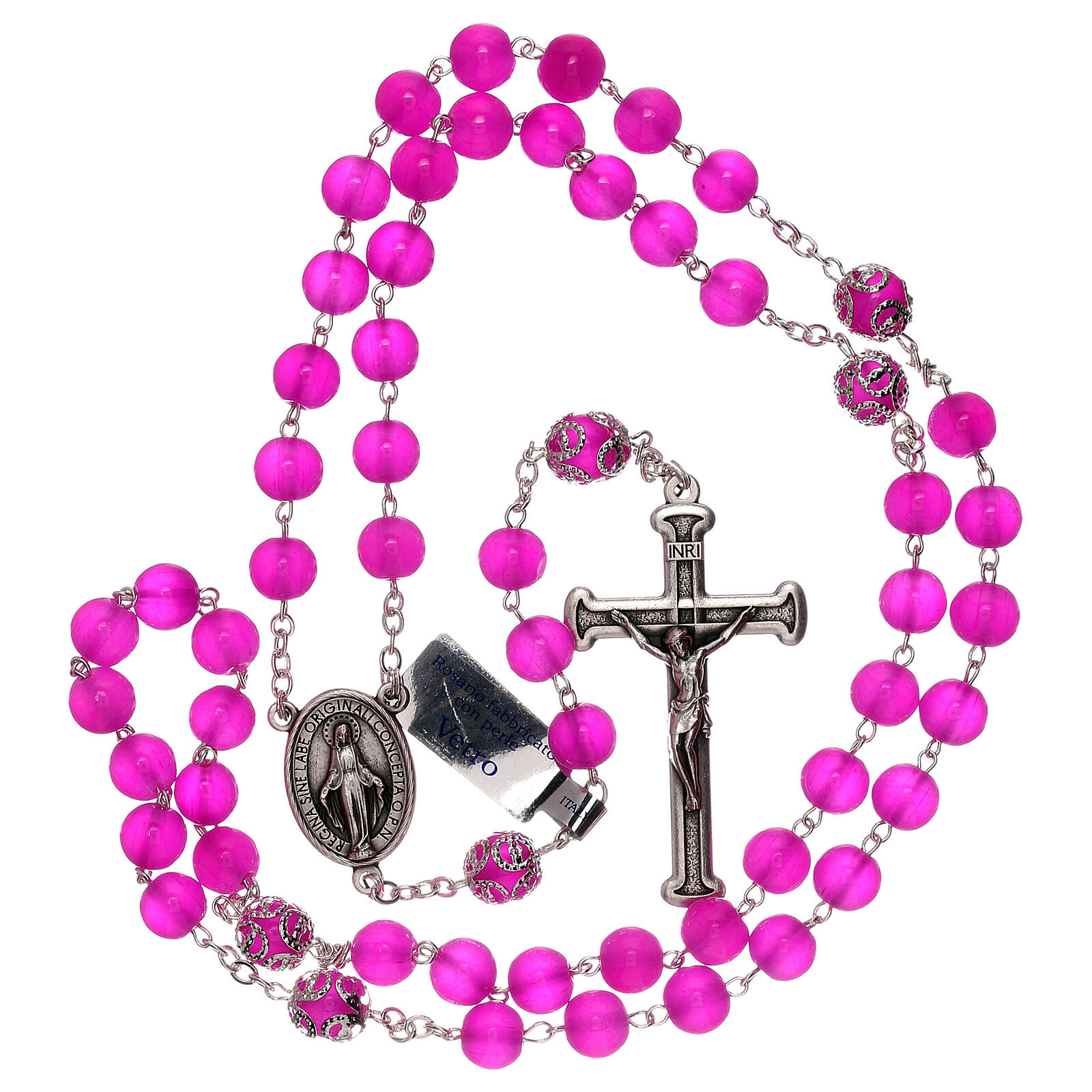 Rosary polished fuchsia glass 5 mm 4