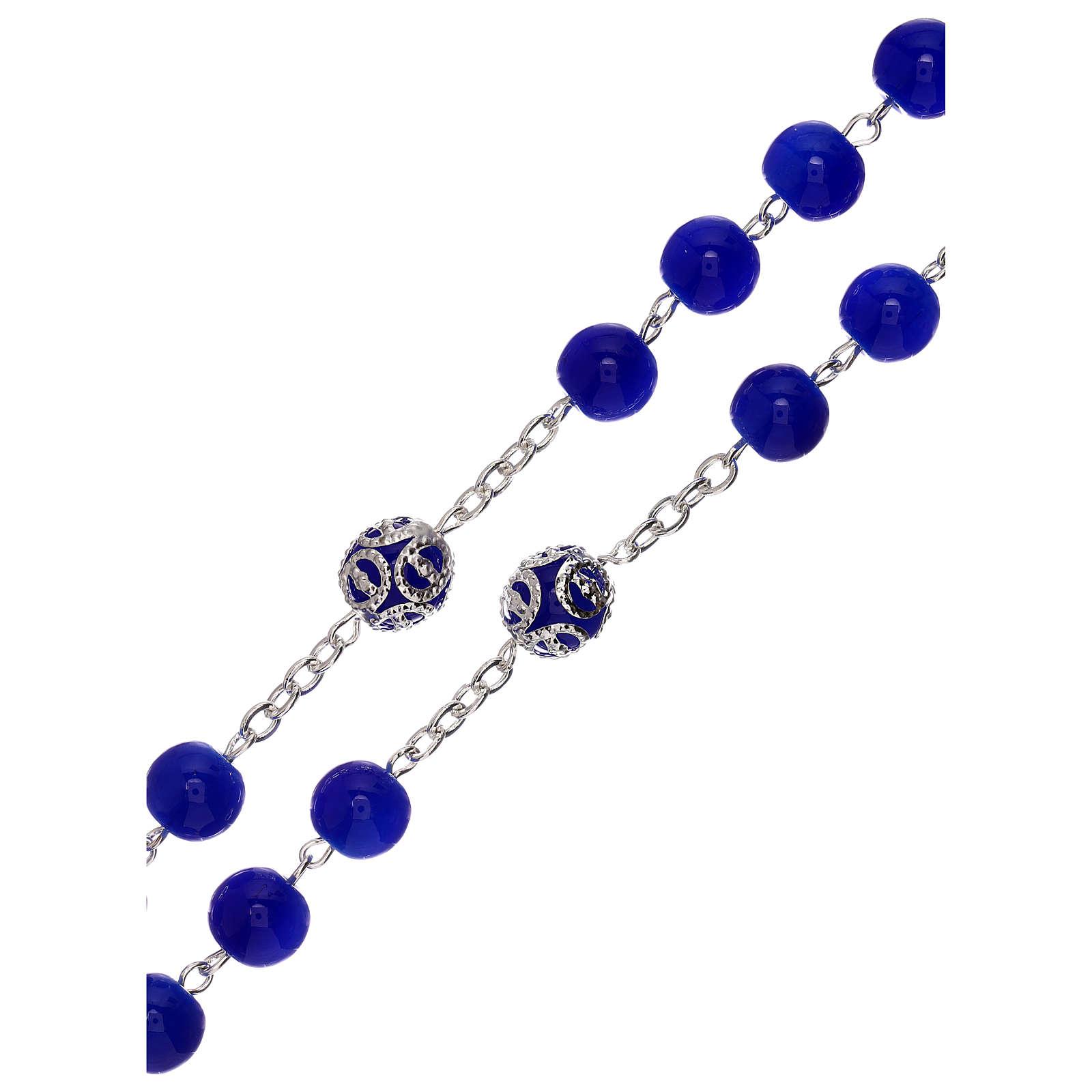 Rosario lucido blu vetro grani 5 mm 4