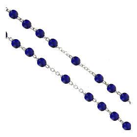 Rosario granos de vidrio redondos azul lúcido 7 mm s3