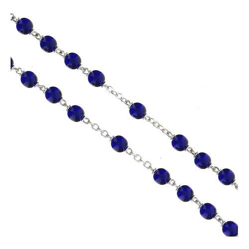 Rosario granos de vidrio redondos azul lúcido 7 mm 3