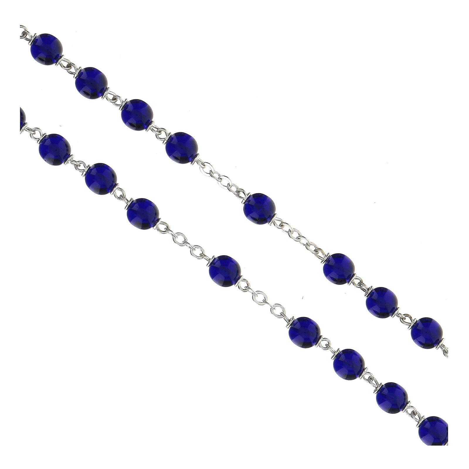 Chapelet grains en verre bleu brillant 7 mm 4