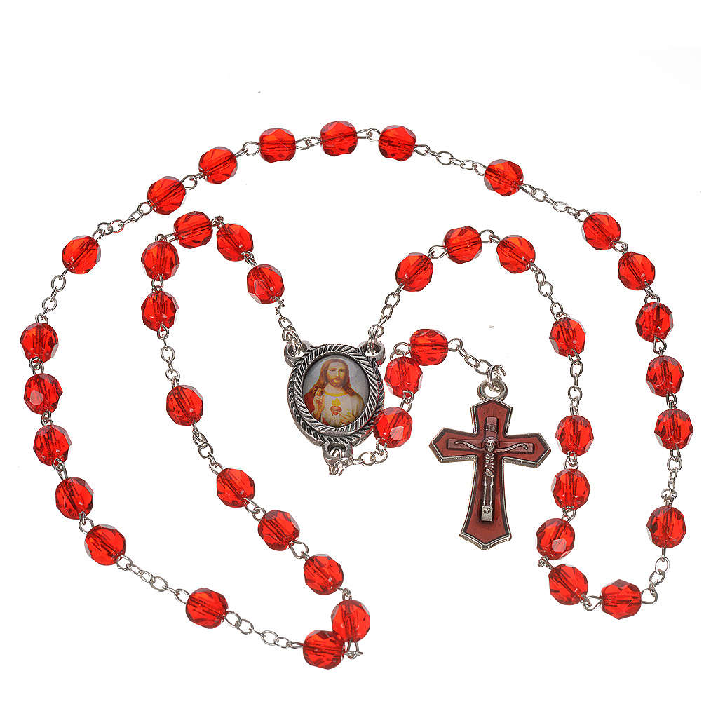 Precious Blood rosary in red crystal 6mm 4