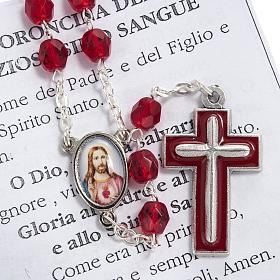 Precious Blood rosary in red crystal 6mm s4