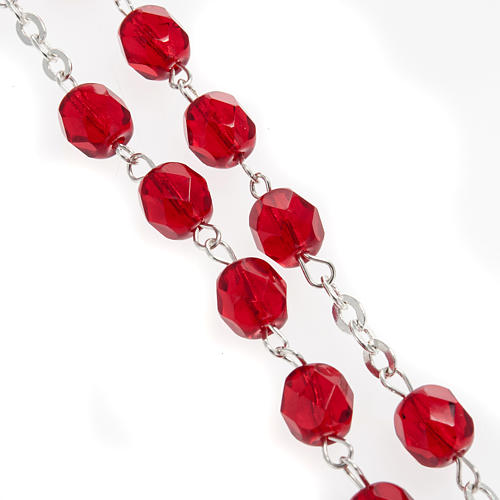 Precious Blood rosary in red crystal 6mm 3