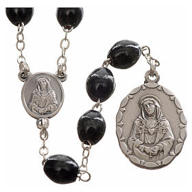 Rosario devocional Virgen de los Dolores negro s1