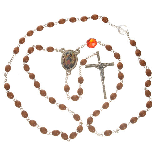 Mary Untier of Knots rosary, natural wood 10