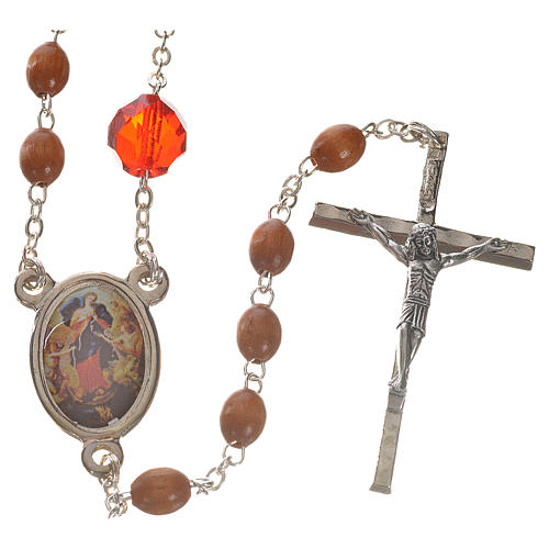 Mary Untier of Knots rosary, natural wood 1