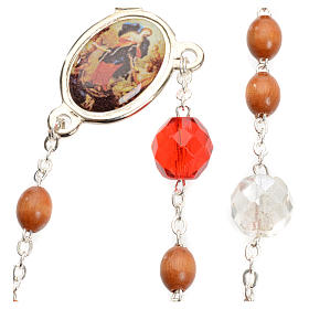 Mary Untier of Knots rosary, natural wood s6