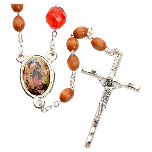 Mary Untier of Knots rosary, natural wood 5