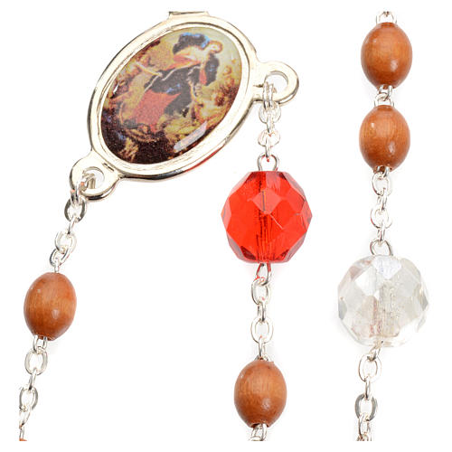 Mary Untier of Knots rosary, natural wood 6