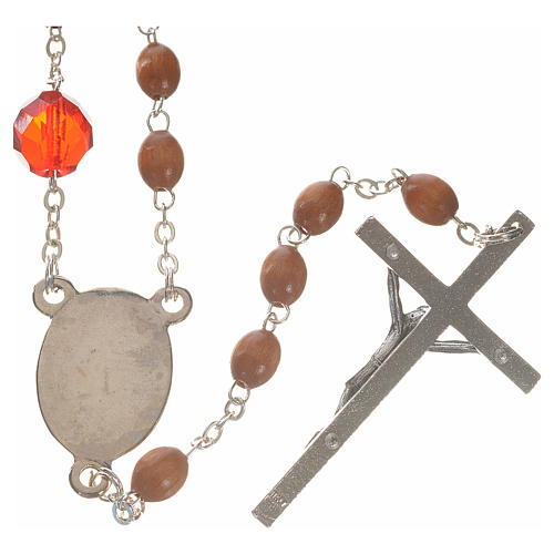 Mary Untier of Knots rosary, natural wood 2