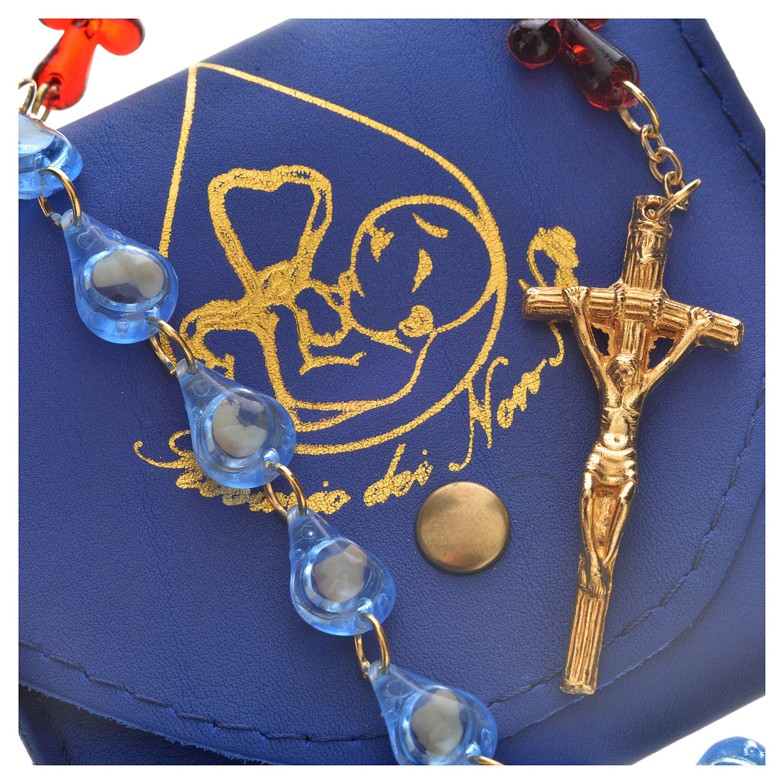Zinngeschenke Rosenkranz mit 59 Perlen gefertigt aus echtem Onyx gl/äzende Perlen zur Taufe Kommunion Geburt L/änge 49 cm