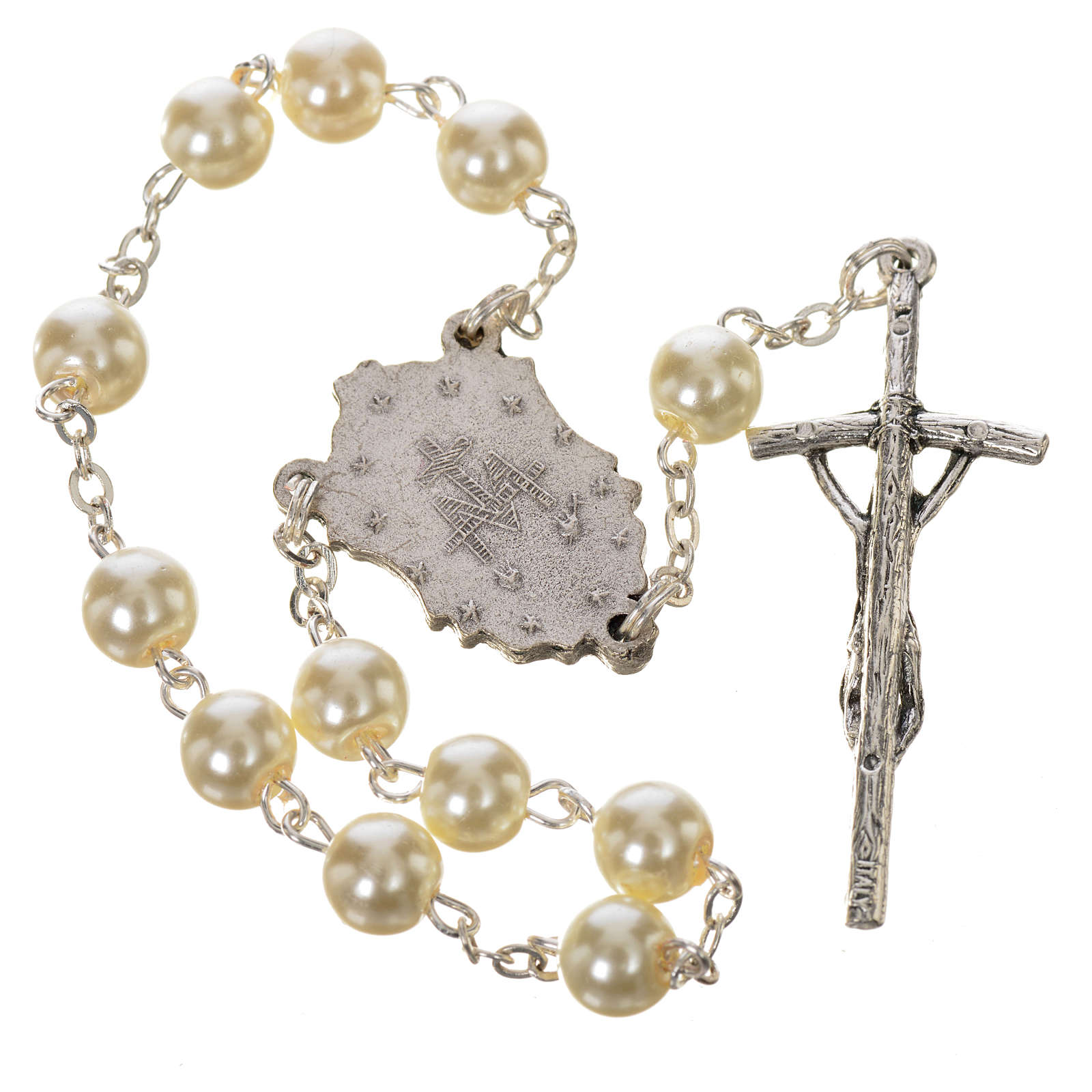 Trisagion, white with pastoral cross and Miraculous Medal 4