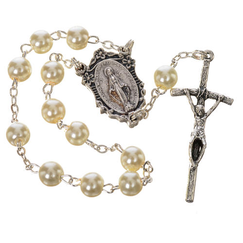 Trisagion, white with pastoral cross and Miraculous Medal 1
