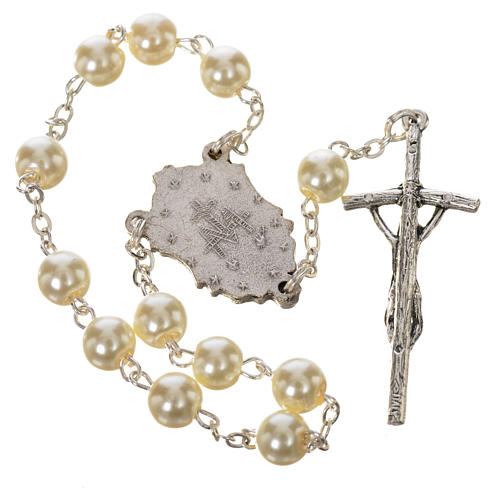 Trisagion, white with pastoral cross and Miraculous Medal 2